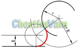 Построение кривых сопряжения прямой и дуги