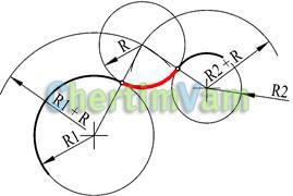 Построение кривых сопряжения двух окружностей